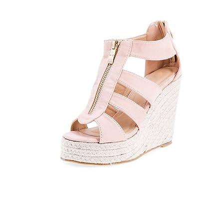 Marimo Damen Sandalen Sandaletten mit Keilabsatz Sommer Schuhe