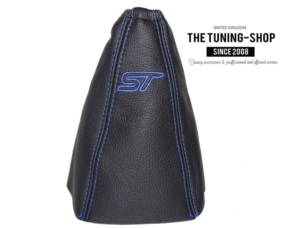 For Mondeo MK3 2003-06 Gear Stick Gaiter Black Genuine Leather Blue ST Embroidery Logo