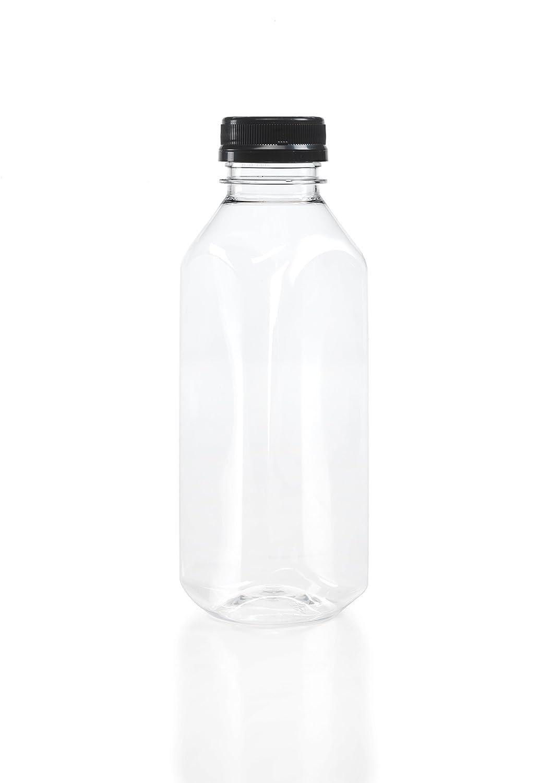 (8) 16 oz. Clear Food Grade Plastic Juice Bottles with Tamper Evident Caps 8/pack (Black Lids)