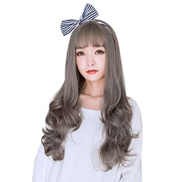 Huphoon Wigs For Women Long Blonde Wavy Curly Pastel Silk Material Japanese synthetic Wig With Bangs
