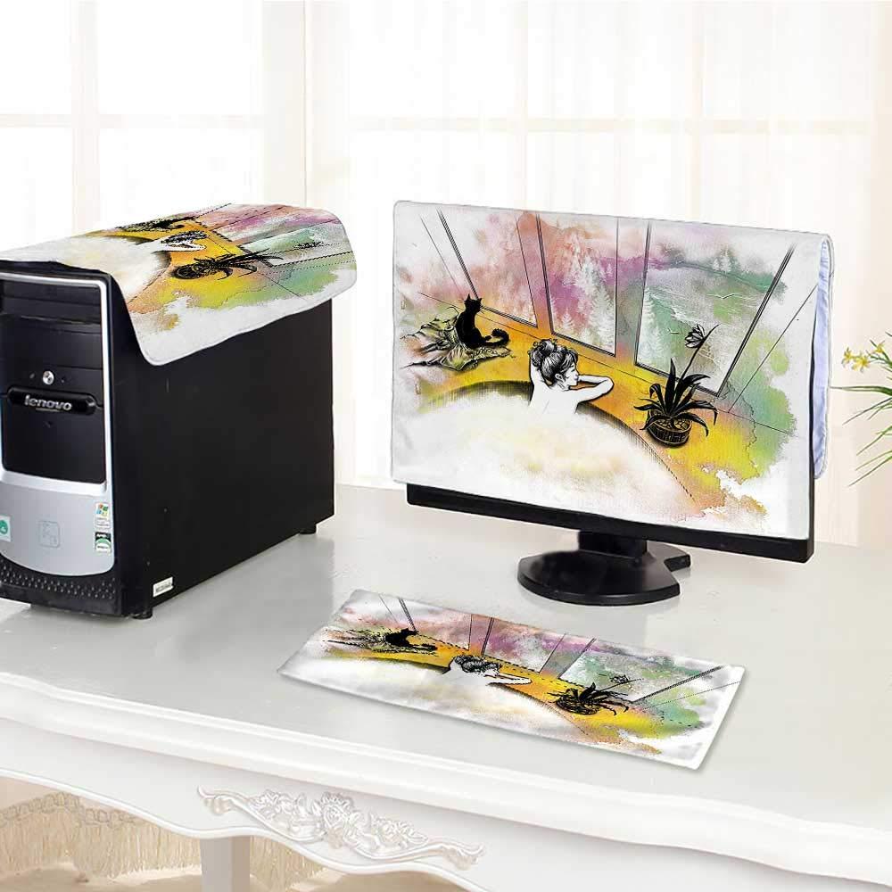 Jiahonghome コンピュータ 防塵 3ピース トライバル 迷路 形態 プリント ホワイトとアーミーグリーン LED LCD画面用 フラットパネル HD ディスプレイ/17インチ W16