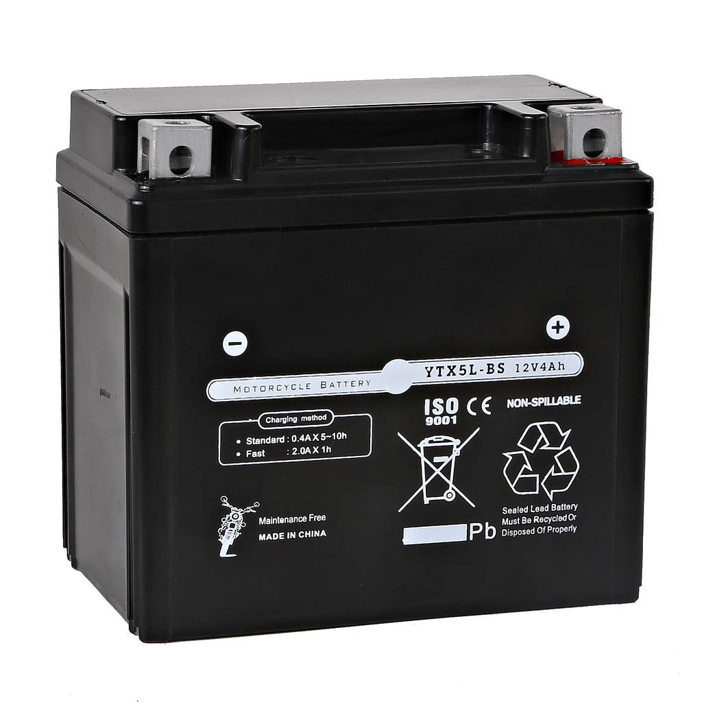 Weize YTX5L-BS High Performance - Maintenance Free - Sealed AGM Motorcycle ATV Scooter Battery Replacement For Honda YUASA Yamaha YTX5L Battery