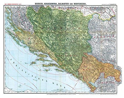 Historische Karte Bosnien Herzegowina Montenegro Und Dalmatien