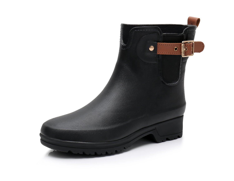 Triple Deer Women's Short Rain Boots Girls Ankle Booties Ladies Rain Shoes Rubber Boots (US 8, Black)