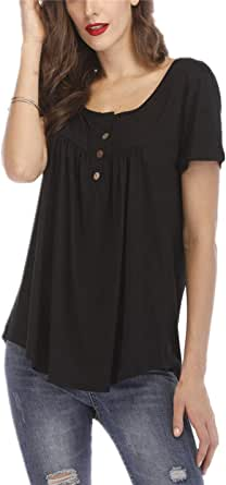 Tanming Women's Casual Short Sleeve Button Pleated Blouses Tunic Tops T-Shirts