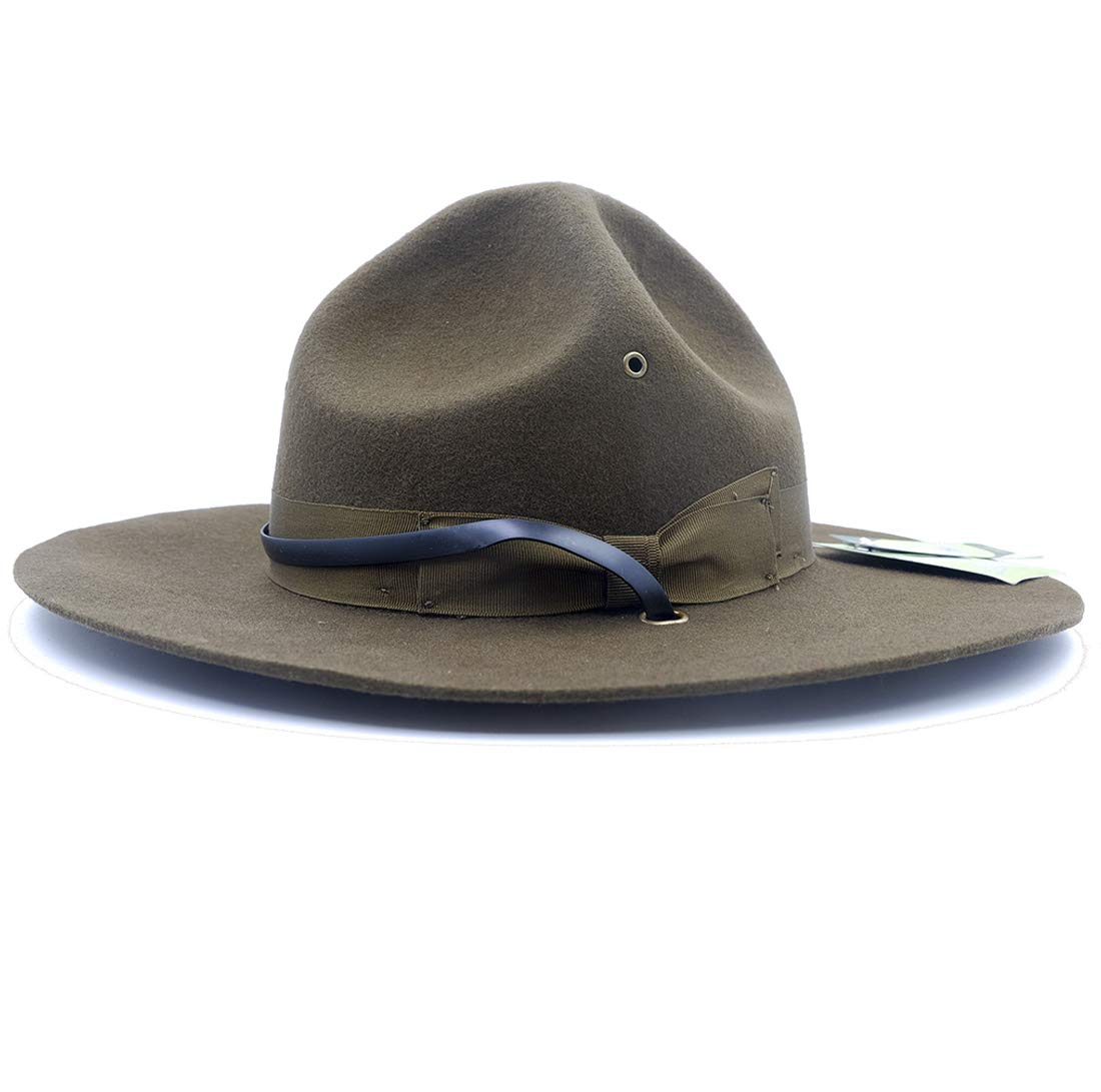 Military Campaign Hat Drill Sergeant Instructor Mountie Ranger Hat 100% Wool Olive by DXCOO
