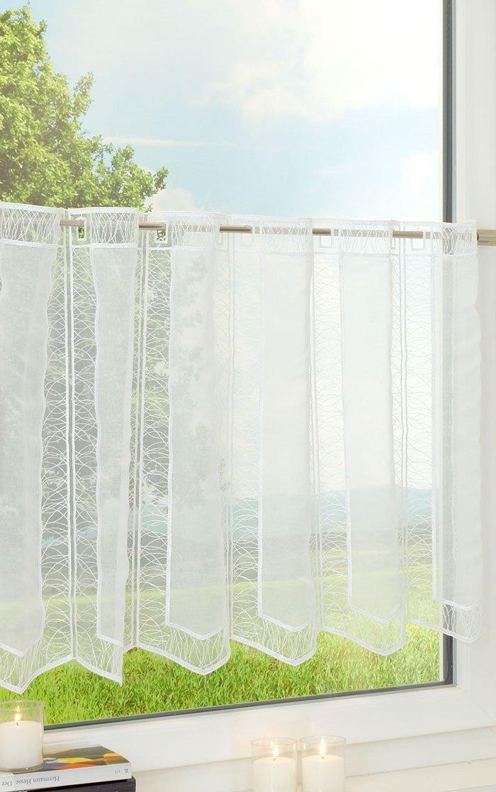 LYSEL Scheibengardine Filigrane Streifen (BX H) 255cm  75cm Weiß