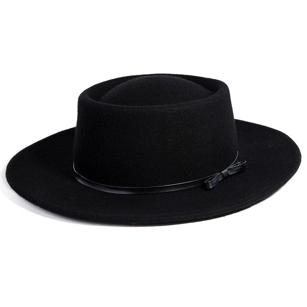 Jeff & Aimy Womens 100% Wool Felt Hat Winter Panama Fedora Pork Pie Church Derby Party Hats Wide Brim Fashion Black