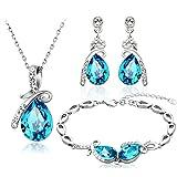Neoglory Jewelry Blue Crystal Teardrop Pendant Necklaces, Bridesmaid Earring Bracelet Women Jewelry Set Embellished…