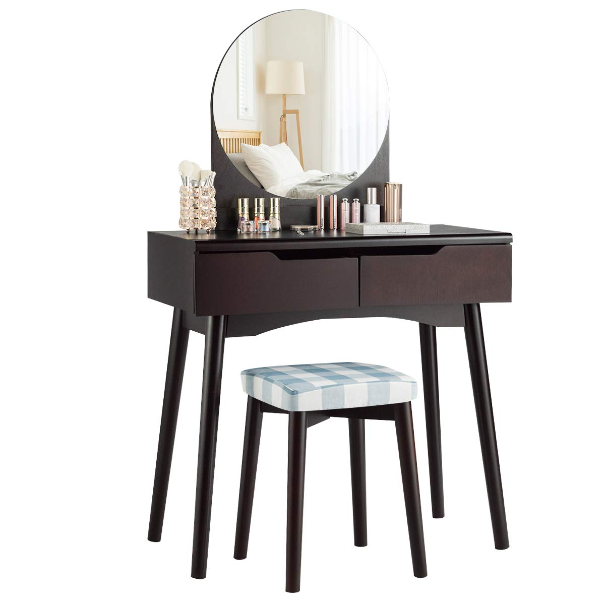 CHARMAID Vanity Set with Round Mirror and 2 Organized Sliding Drawers, Makeup Dressing Table with Thick Cushioned Stool, Tilting Preventing Device, Bedroom Makeup Vanity Set Brown