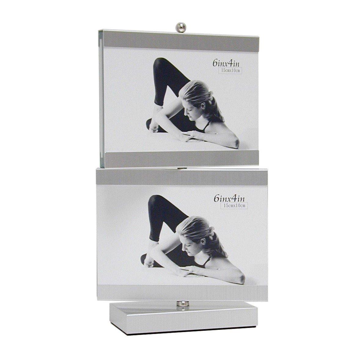 Deknudt Frames S58MP1-10.0X15.0 - Cornice girevole in vetro con 4 portafoto, 29,8 x 18 x 9 cm, colore: Argento