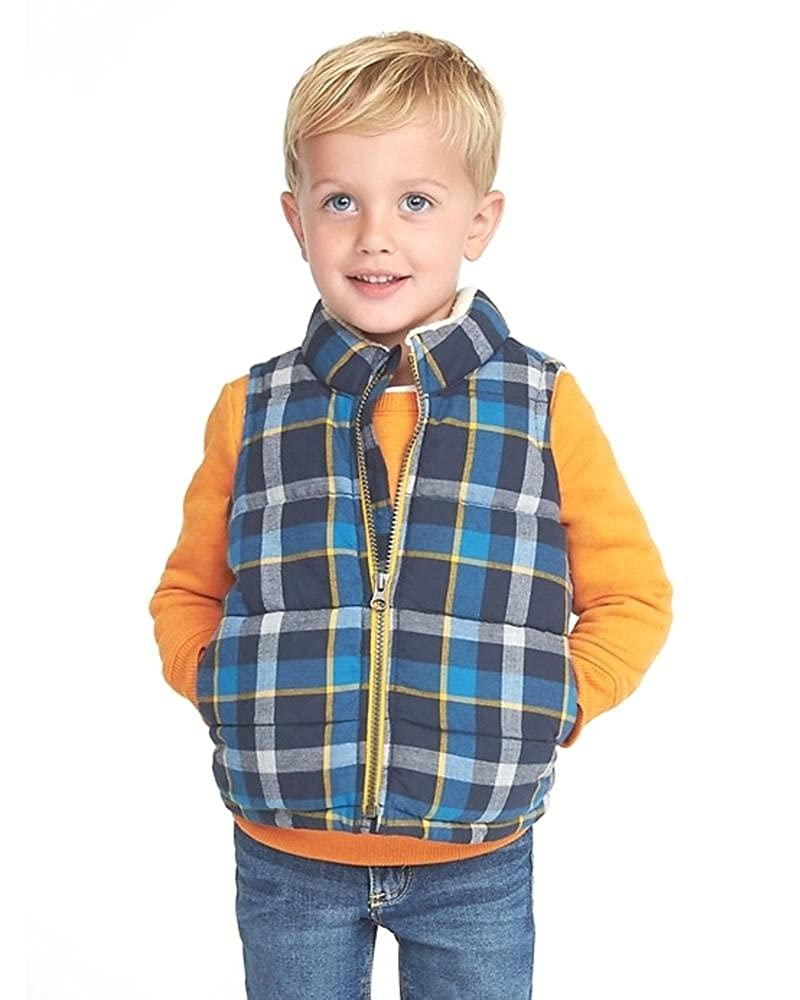 Old Navy Plaid Sherpa-Lined Quilted Vest for Toddler Boys
