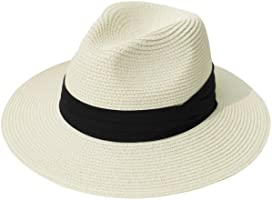 Lanzom Women Wide Brim Straw Panama Roll up Hat Fedora Beach Sun Hat UPF50+