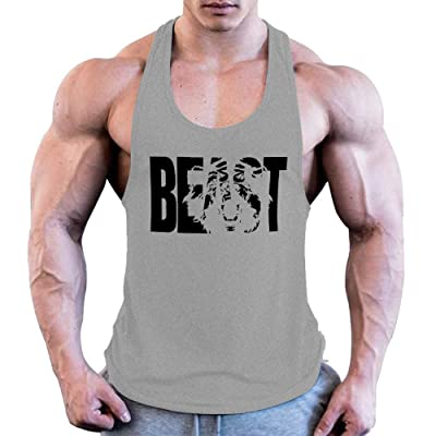 GymRevolution Men's Muscle Gym Workout Bodybuilding Printed Extreme Y Back Fitness Tank Tops at Men's Clothing store