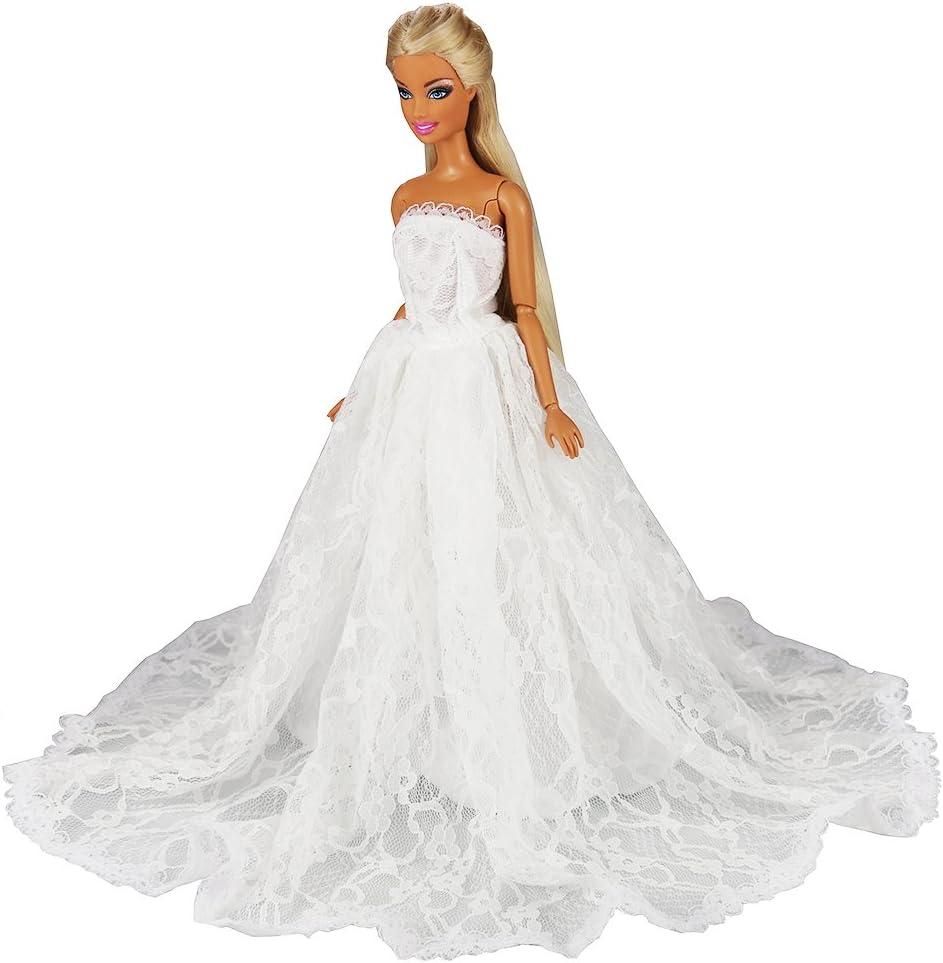 FestFUN Robe de Mariage Blanche de Poup/ée Robe de Mari/ée Princesse /él/égante avec Un Voile pour Poup/ée Fille de 11,5 Pouce