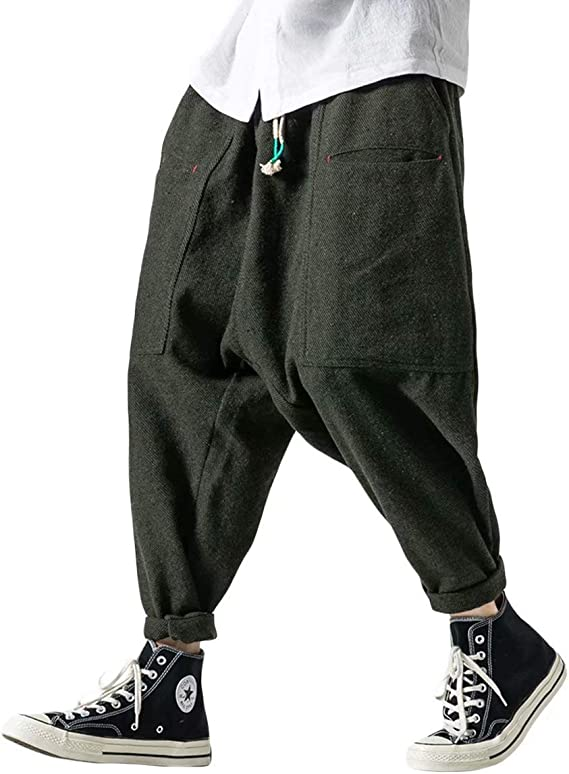 Amazon | KOGARASI メンズ サルエルパンツ ワイドパンツ 秋 冬 はかまパンツ ゆったり 厚手 ロング ズボン おおきいサイズ ラシャ  暖かい ゴム紐付き ブラック グレー グリーン | ロングパンツ 通販