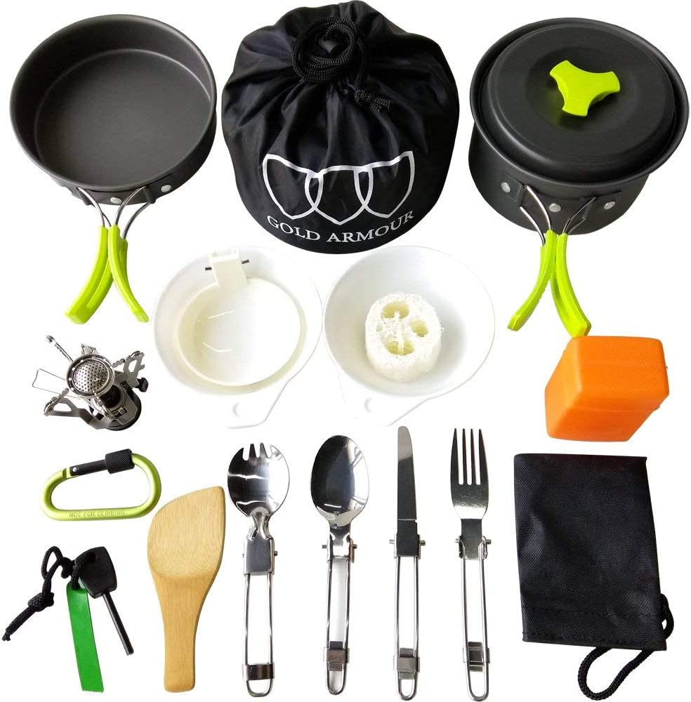 Backpacking Gear /& Hiking Camping Cookware Kit 12 Pcs Fishing Outdoors Cooking