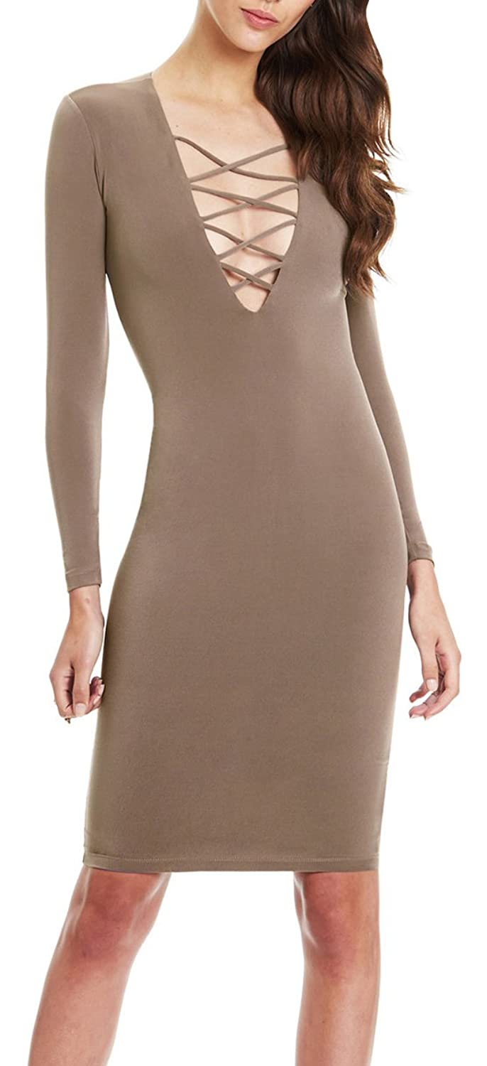 Sexy Women Long Sleeve Stretch Bodycon Party Bandage Dresses