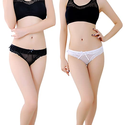 0a4db23be7a2 Leather&Arts 2-pack Sexy Underwear,Women's Lingerie Panties Lace Knickers  Briefs of T-