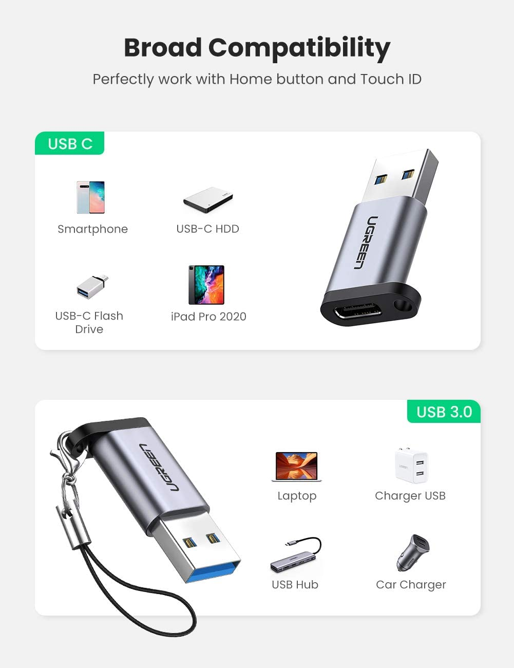 Laptop and Wall Charger with USB Type A Port UGREEN USB C to USB 3.0 Adapter Type C 3.1 Female to USB A Male Converter for PC