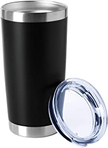 HASLE OUTFITTERS 20oz Tumblers Stainless Steel Mugs with Lid Double Wall Vacuum Insulated Coffee Cups for Cold & Hot Drinks 1 Pack Black