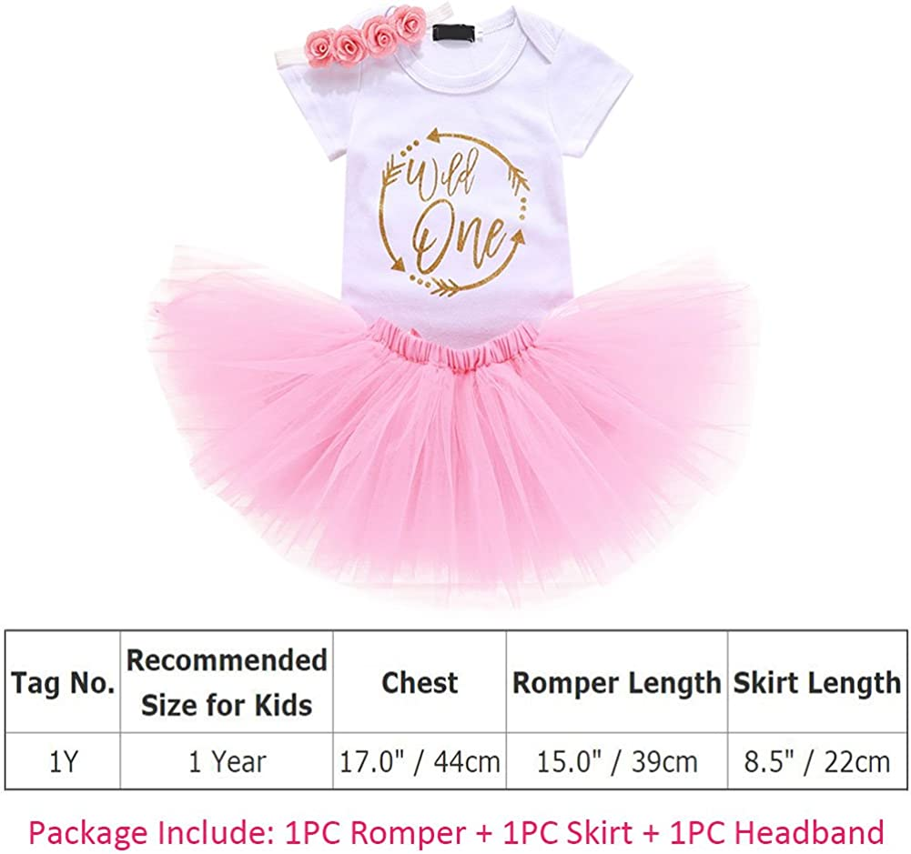 Baby Girl First Birthday Outfits Romper Tutu Skirt Sequin Headband Clothes 3PCS Set