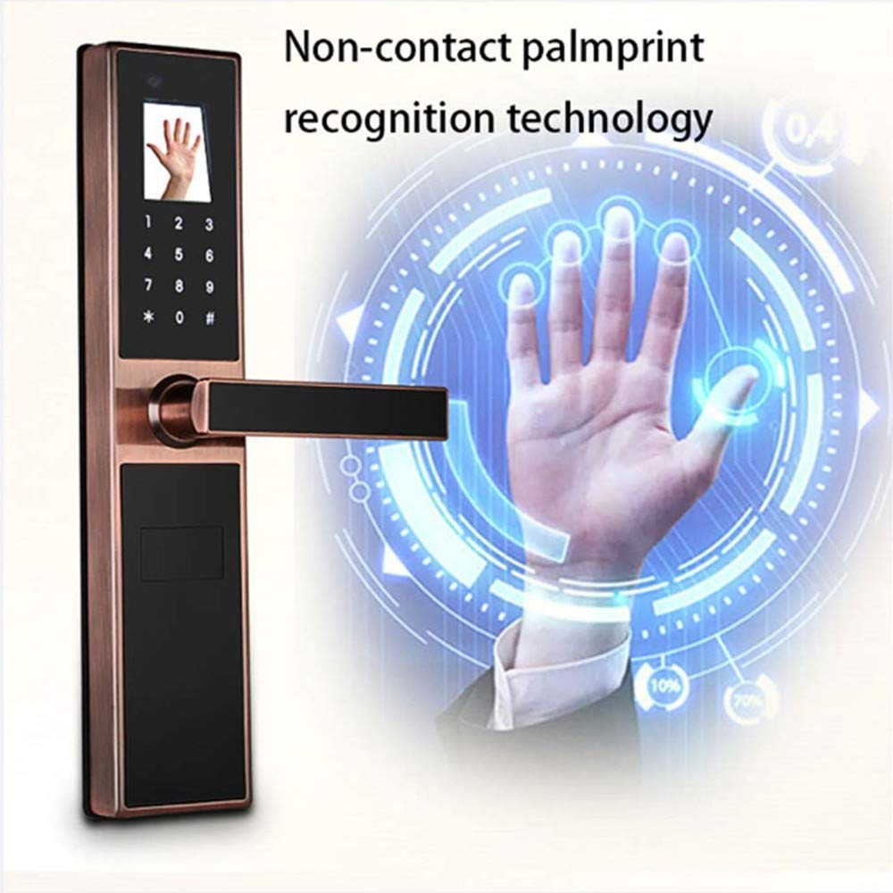 GAOPIN Combination Locks - Electronic Keyless Biometric Face, Palm-Print Recognition Smart Door Lock for Home and Apartment or Hotel etc, Red Copper,4 by GAOPIN (Image #4)