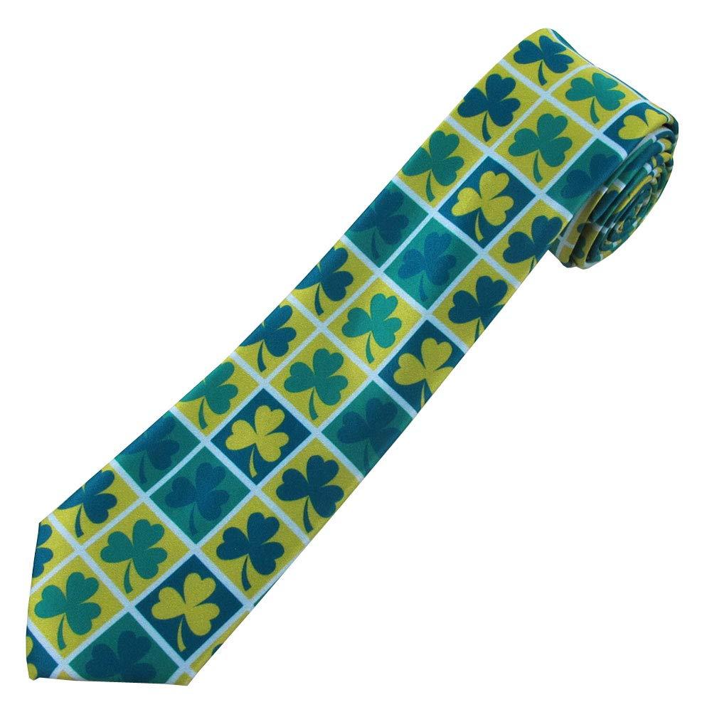 Jacob Alexander Boys Prep St Patricks Day Shamrock Squares Neck Tie