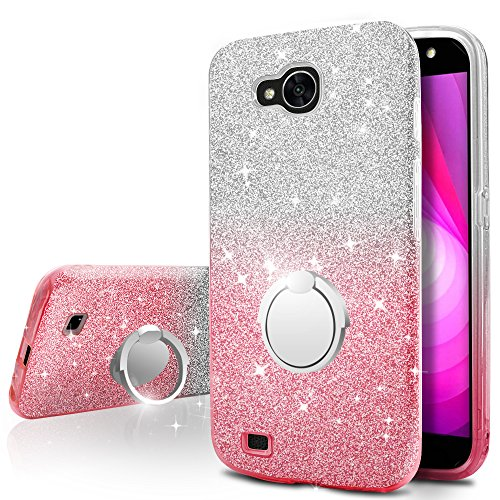 LG X Venture Case, LG X Calibur Case, LG V9 Case,Silverback Girls Bling Glitter Sparkle Cute Case With 360 Rotating Ring Stand, Soft TPU Outer Cover + Hard PC Inner Shell for LG Xventure -Pink