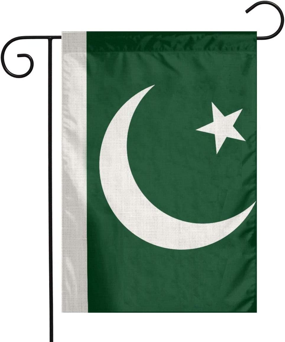 YANGHOME Pakistan Pakistani National Flag Flax Nylon Burlap Linen Fabric Garden Flag Farmhouse Decorations Mailbox Decor Welcome Sign 12x18 Inch Small Mini Size Double Sided