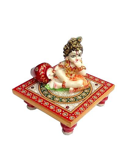 Indyhaat Laddu Gopal or Bal Krishna Idol on Marble Choki(MultiColor, 10.16cm)