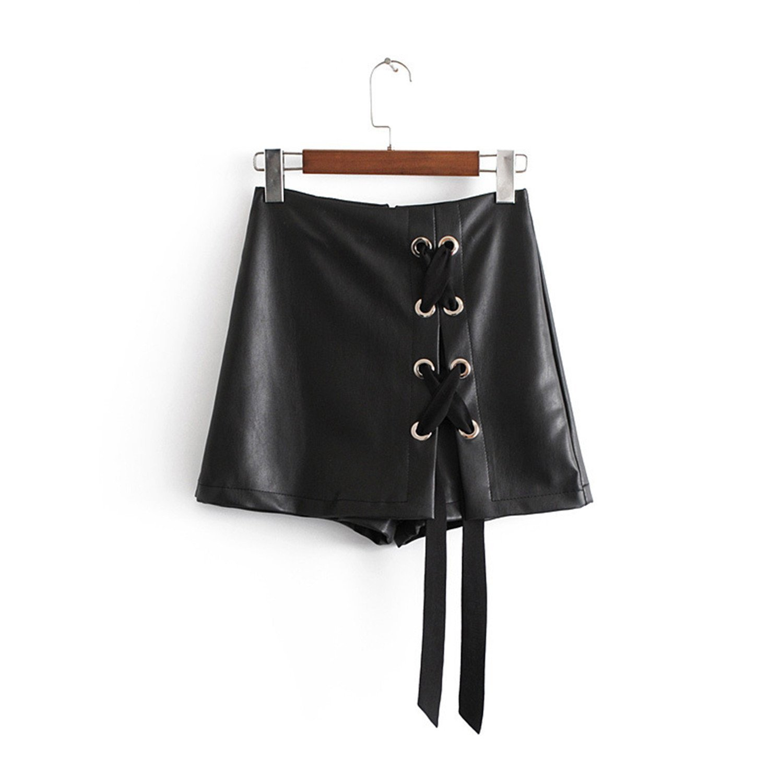 Rankei Spring High Waist Women PU Leather Shorts Skirts Lace-up Shorts Mini Skirts Pu Jupe Femme,Small,Fashion