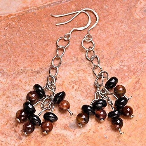 natural black onyx gemstone cluster beaded sterling silver dangle earrings