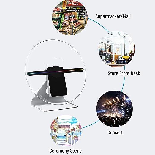 Proyector de pantalla de ventilador de holograma 3D con batería ...