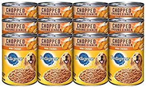 Pedigree Chopped Ground Dinner with Chicken Canned Dog Food 13.2 Ounces (Pack of 12)