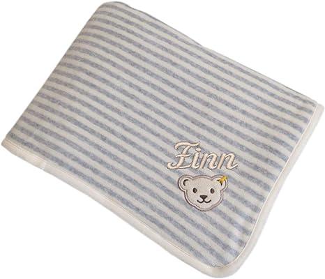 Steiff - Manta para bebé (90 x 60 cm, algodón orgánico), diseño de rayas, color gris y crema: Amazon.es: Bebé