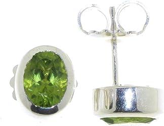 Elegante Ohrringe Sterlingsilberohrstecker 925 mit Peridot 6x8mm grüner Stein von Peter Erker