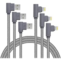 3-Pack Apfen 90 Degree Nylon Braided Lightning Cables (10FT)