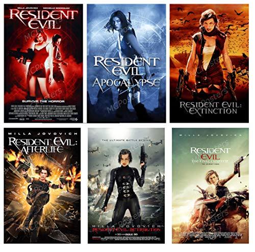 PremiumPrints - Resident Evil Apocalypse Extinction Afterlife Retribution Final Chapter 6 Movie Poster Set - MSET28 Premium Canvas 11