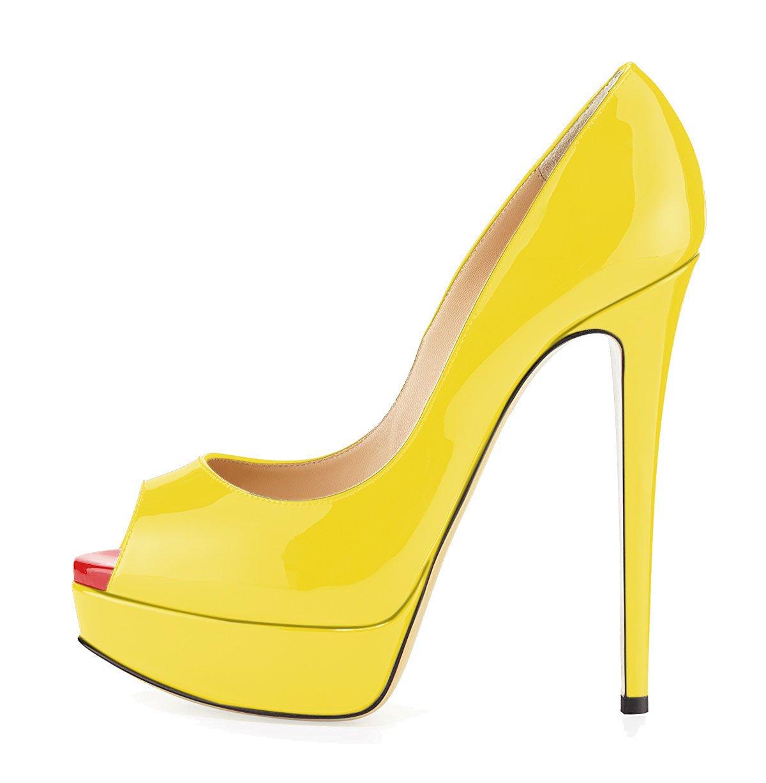 uBeauty Zapatillas Plataforma Mujer Zapatos de Tacon Tallas Grandes Sandalias Sin Cordones 40 EU Amarillo