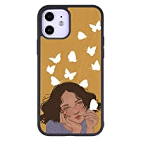 Baby Girl Phone Case for iPhone 12 6.1 Inch - Shockproof Protective TPU Aluminum Cute Cool Butterfly Cell Phone Case Designed for iPhone 12 Case for Girls Women Yellow Butterfly
