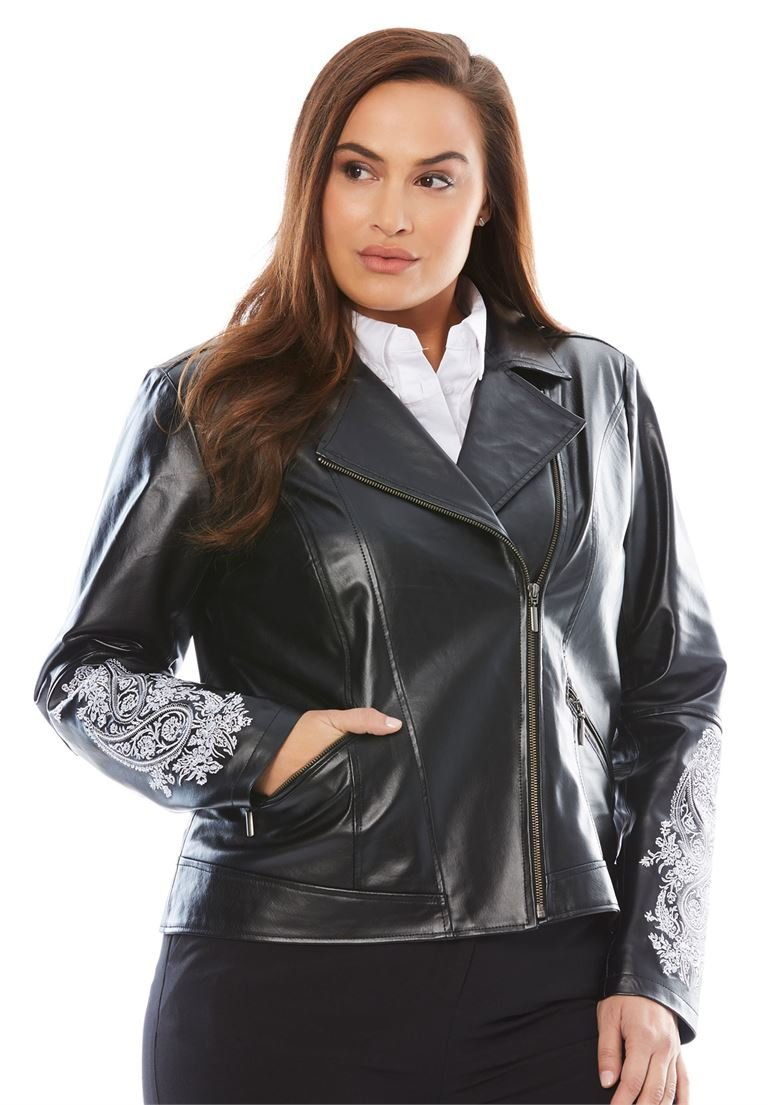 Jessica London Women's Plus Size Embroidered Leather Jacket Black,26 W by Jessica London