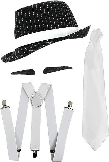 Cravatta Gangster anni/'20 Costume Accessorio Da Uomo Bianco Cravatta