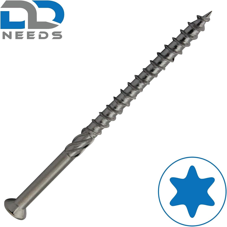 PU: 50 pi/èces D2D vis terrasse 5 x 80 mm avec pointe hexalobulaire TX et CUT en acier inoxydable C1 Vis de construction de terrasse avec entaille