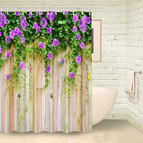 FOOG Rose Shower Curtain Spring Wood Panel Sets Floral Stripes Wood Pattern Colorful Butterfly Spring Floral Countryside Scenery Polyester Fabric Mildew Resistant Waterproof-Green Purple (70
