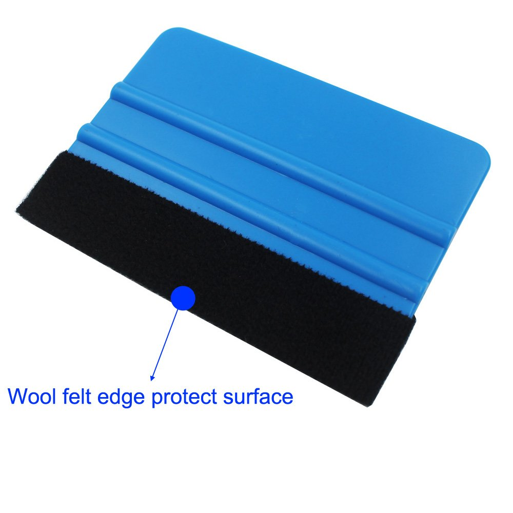 EEFUN Durable Black Felt Edge Squeegee 4 Inch for Car Vinyl Film Wrapping Decal Squeegee Window Tint Work Professional Scratch free Squeegee Pack of 8