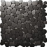 River Rock Pattern Mosaic Stainless Steel Black Metal Tile- Kitchen Backsplash / Bathroom Wall / Home Decor / Fireplace Surround- SA152 (11PCS 10.76Sq.ft)