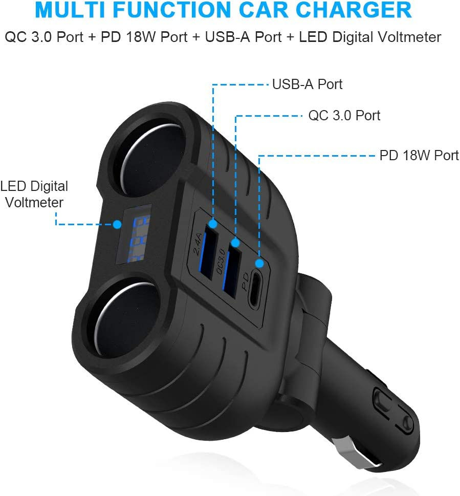 Build-in Safer Fuse Daul USB Car Charger Adapter Eletrand 12V//24V DC Outlet Car Socket Splitter with 3 Socket /& 2 USB Port Compatible with GPS//Tablets//iPhone Samsung Huawei and More