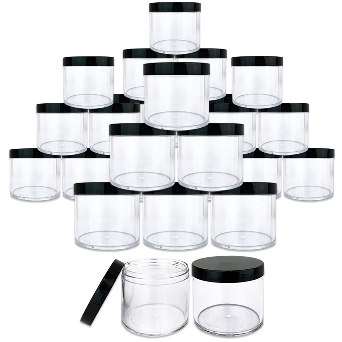 Beauticom 10 oz. (300g /300ML) (Quantity: 120 Packs) Thick Wall Round Leak Proof Clear Acrylic Jars with Black Lids for Beauty, Cream, Cosmetics, Salves, Scrubs