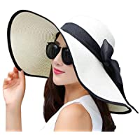 JOYEBUY Women Big Bowknot Straw Hat Floppy Foldable Roll up UV Protection Beach...